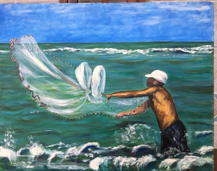 Pescaria - Painting,  15.8x19.7 in, ©2019 by Neiva D Ávila -                                                                                                                                                                                                                                                                                                                                                                                                                                                      Figurative, figurative-594, People, Seascape, Fish, mar, pesca, pescador, marinha