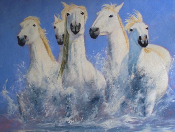 Horses - Painting,  28.7x36.2x1 in, ©2019 by Lionel Crotet (nel) -                                                                                                                                                                          Figurative, figurative-594, Animals