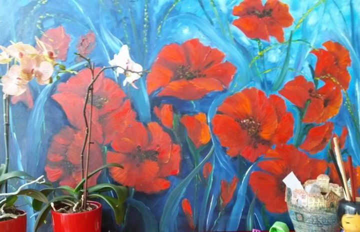 klaprozen/poppies - Painting ©2018 by Nelie Meininger -