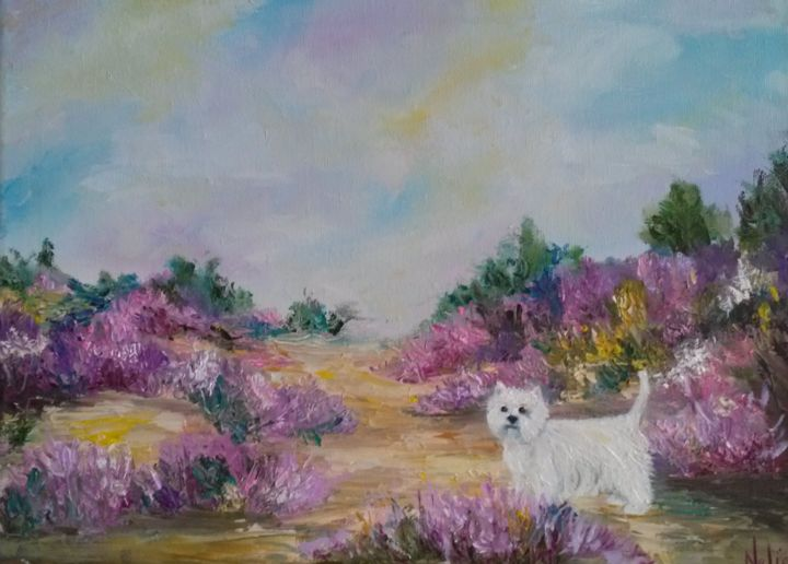 west highland westy - Schilderij,  11,8x15,8x0,4 in, ©2016 door Nelie Meininger -                                                              artwork_cat.Dogs