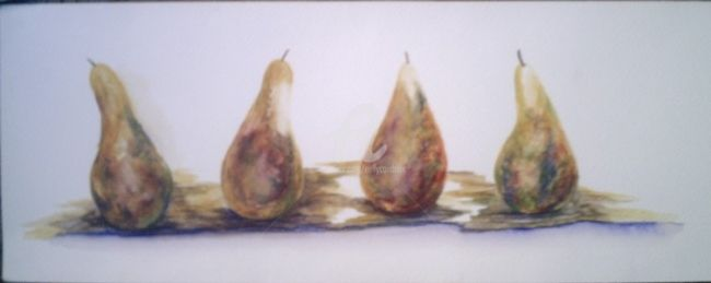 poires - Painting,  10.6x19.7 in, ©2009 by Nelly Coudoux -                                                                                                                                                                                                                                                                      Figurative, figurative-594, Food & Drink, poires, fruits
