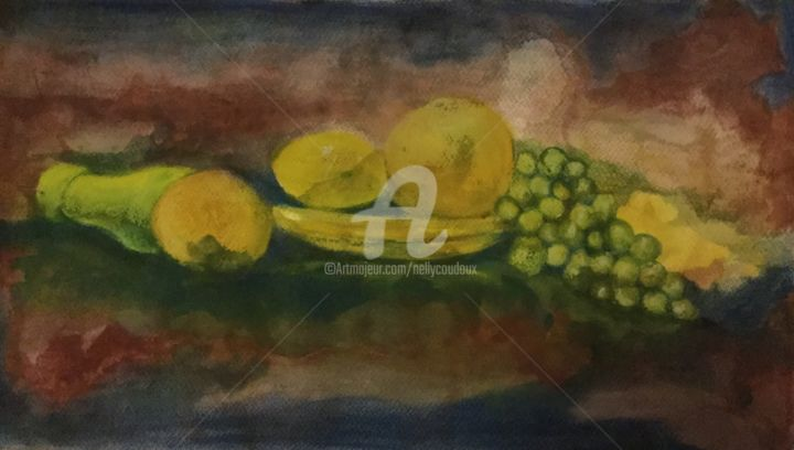 nature morte - Painting,  10.6x19.7 in, ©2017 by Nelly Coudoux -                                                                                                                                                                          Figurative, figurative-594, Still life