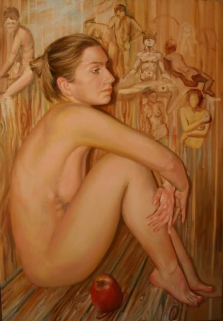 """Painting titled """",,In sauna,,"""" by Nelly Drell, Original Art, Oil"""