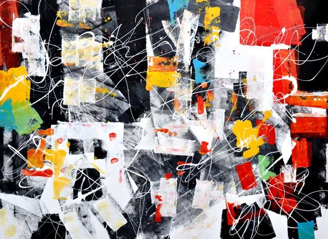 NYC 01 - Painting,  47.2x35.4 in ©2011 by Igor Nelubovich -                        Abstract Art