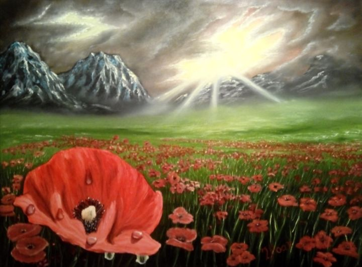 Field of poppies #1 - Painting,  60x80x1.5 cm ©2016 by i. boar_art -                                                            Classicism, Canvas, Landscape, Art, Painting, Oil, Canvas, Landscape, Nature, Flowers, Poppies