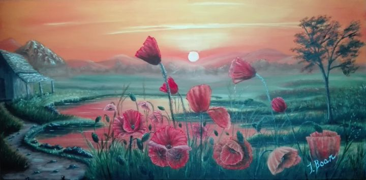 Field of poppies #2 - Painting,  40x80x2 cm ©2016 by i. boar_art -                                                            Classicism, Canvas, Landscape, Art, Painting, Oil, Canvas, Landscape, Nature, Flowers, Poppies
