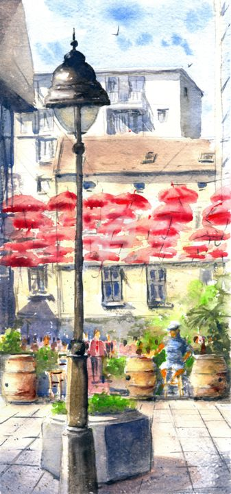 """Painting titled """"Shadows of red umbr…"""" by Nenad Kojić Watercolorist, Original Art, Watercolor"""