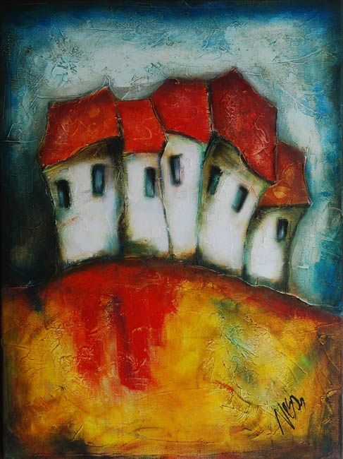 """Painting titled """"On the hill"""" by Nesaart, Original Art, Oil"""