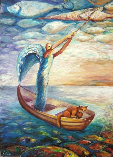 FISHING - Painting,  27.6x19.7 in, ©2007 by NESIS ELISHEVA (Eli7) -                                                                                                                                                                          Surrealism, surrealism-627, good luck passion patience wait boat fishing tackle net fishing catch sky fish angel cat