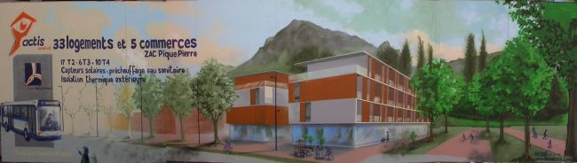 CHANTIER LOGEMENTS ACTIS - Peinture, ©2006 par Nessé -                                                                                                                                                                                                                                                                                                                                                                                                                                                                                                                                              Illustration, illustration-600, Arbre, artwork_cat.Cityscape, mur peint, fresque, grenoble, tag, nessé, communication, chantier