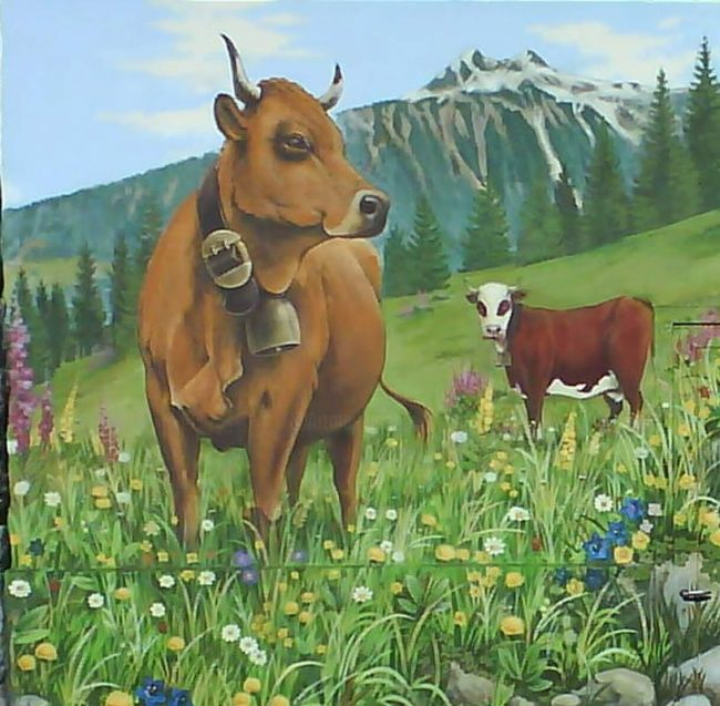 COOPERATIVE LAITIERE DU BEAUFORTAIN - Peinture,  0,4 in, ©2008 par Nessé -                                                                                                                                                                                                                                                                                                                                                                                                                                                                                                                                                                                                                                      Figurative, figurative-594, Animaux, artwork_cat.Colors, Paysage, murs peints, fresque, fruitière de beaufort, savoie, tarine, abondance, nessé, jérôme favre