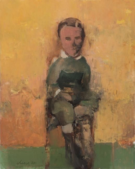 Sitting Boy (Past Perfect Series) - Painting,  17x19 in ©2011 by Elena Zolotnitsky -                            Contemporary painting, portrait of a little boy