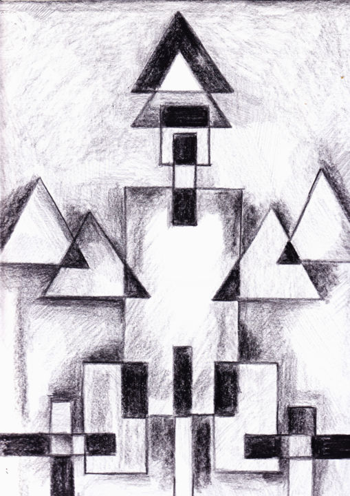"""Drawing titled """"Constructivo con tr…"""" by Lisarco Namune, Original Art, Pencil"""