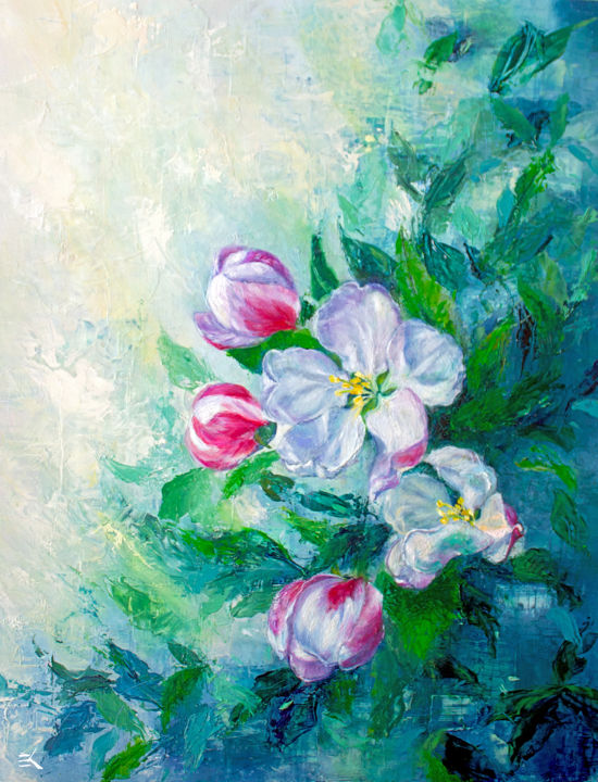 """Painting titled """"Nicole's Flowers"""" by Ngendo, Original Art, Oil"""
