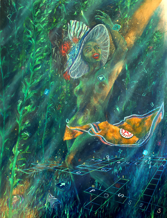 """Painting titled """"I am an Ocean"""" by Ngendo, Original Art, Oil Mounted on Stretcher frame"""