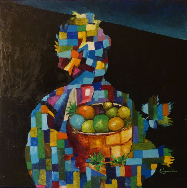 """Painting titled """"Saint Guy"""" by Guy Ngono, Original Art, Oil"""