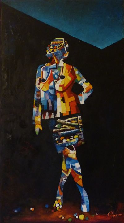 """Painting titled """"Sylvie"""" by Guy Ngono, Original Art, Oil"""