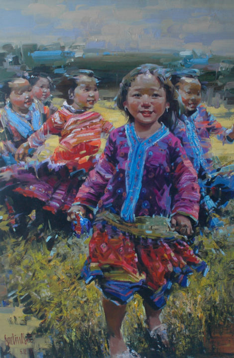 """Painting titled """"Circus has come to…"""" by Ha Nguy Dinh, Original Art, Oil"""