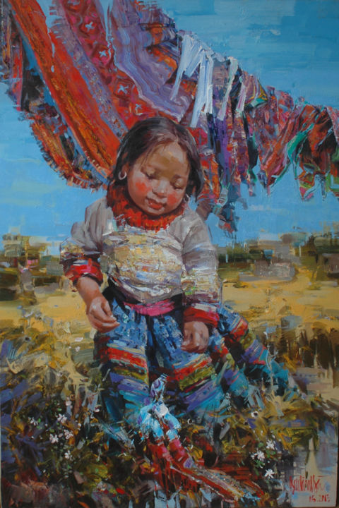 """Painting titled """"Falling"""" by Ha Nguy Dinh, Original Art, Oil"""