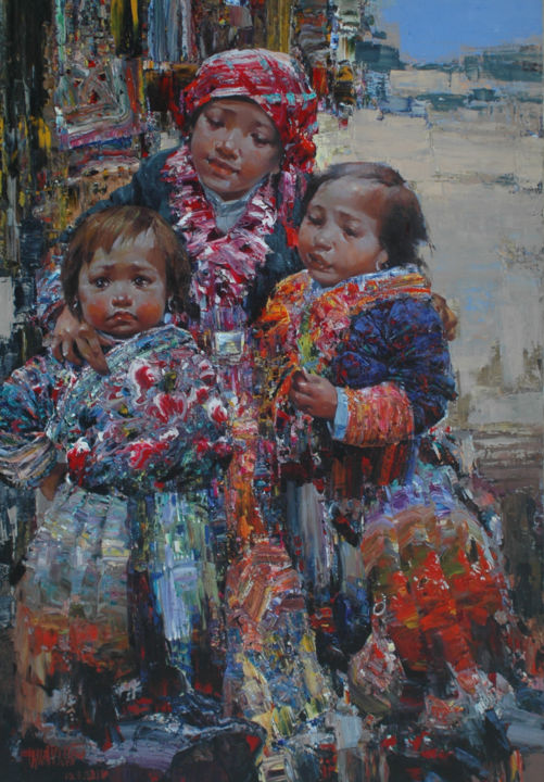 """Painting titled """"When mom is not home"""" by Ha Nguy Dinh, Original Art, Oil"""