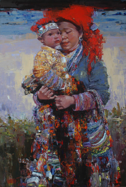 """Painting titled """"My Sweet Child"""" by Ha Nguy Dinh, Original Art, Oil"""