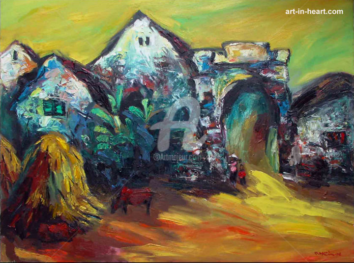 """Painting titled """"Beauty of the villa…"""" by Nguyen Bui Hien, Original Art, Oil"""