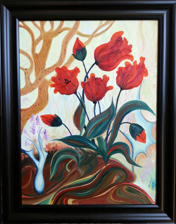 """Painting titled """"Orchestra of Flowers"""" by Natalia Hughson, Original Art, Oil"""
