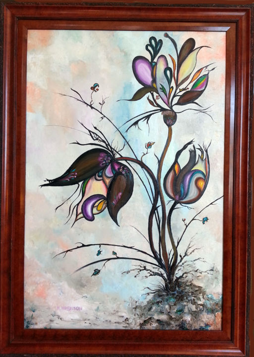 """Painting titled """"Flowers of Abstract…"""" by Natalia Hughson, Original Art, Oil"""