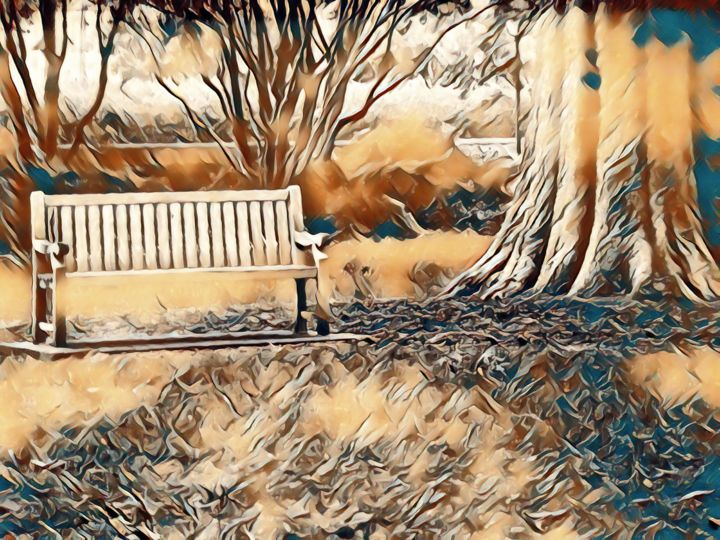 """Digital Arts titled """"The Lonely Bench"""" by Nia Carr, Original Art, Photo Montage"""
