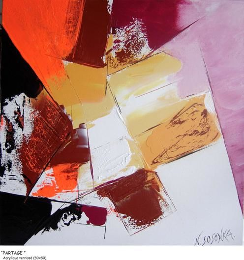 PARTAGE - Painting,  19.7x19.7 in, ©2007 by Nichka Sosonka -                                                                                                                          Abstract, abstract-570