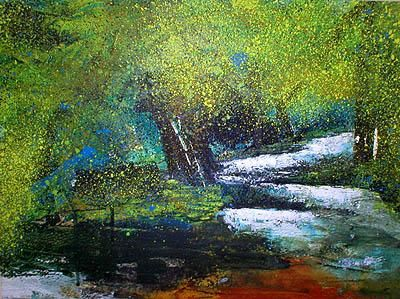 Pont-Aven (Brittany) - Painting,  11.4x15.4 in, ©2004 by Nick Cowling -                                                              nature paysage landscape fleurs flowers couleurs colors pré field Bretagne Brittany campagne country arbre tree forêt wood