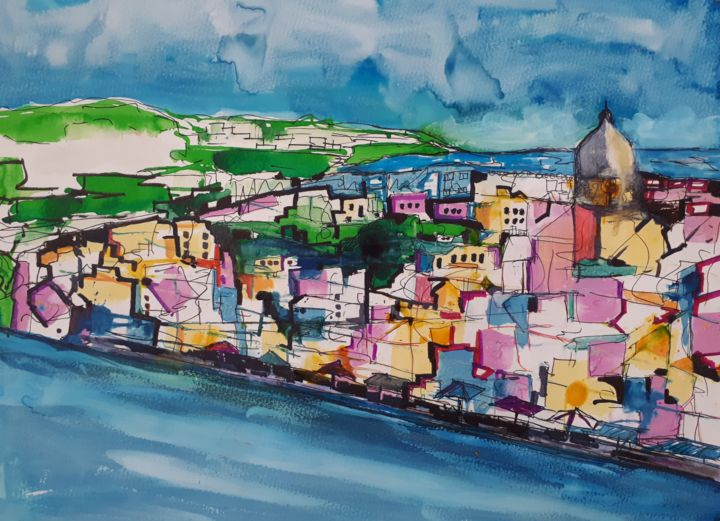 Procida, Italy - Painting,  11.8x19.7 in, ©2018 by Nick Cowling -