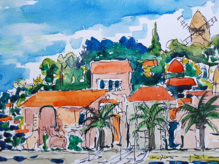 Collioure - Painting,  24x32 cm ©2018 by Nick Cowling -