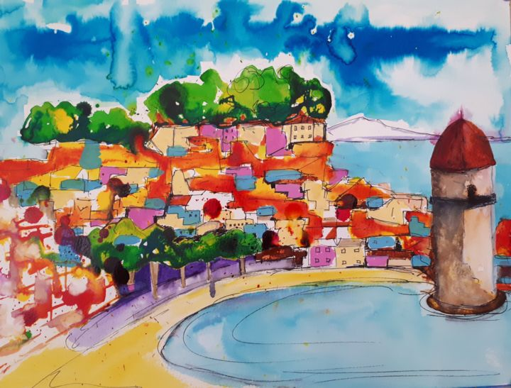 Collioure -1 - Painting,  30x50 cm ©2018 by Nick Cowling -