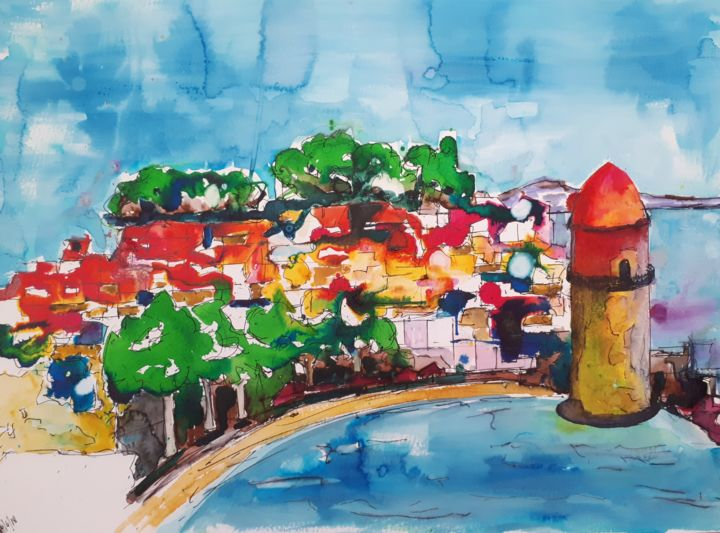 Collioure - 4 - Painting,  30x50 cm ©2018 by Nick Cowling -