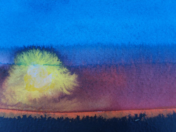 Sunset 6 - Painting,  3.9x6.3 in, ©2013 by Nick Cowling -
