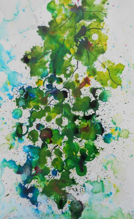 My vine,1st July 2015 - Painting,  18.1x11.8 in, ©2015 by Nick Cowling -