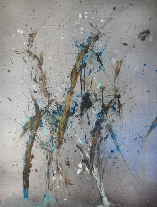 silver-blue-and-gold-2 (hiver) - Painting,  31.5x23.6 in, ©2016 by Nick Cowling -