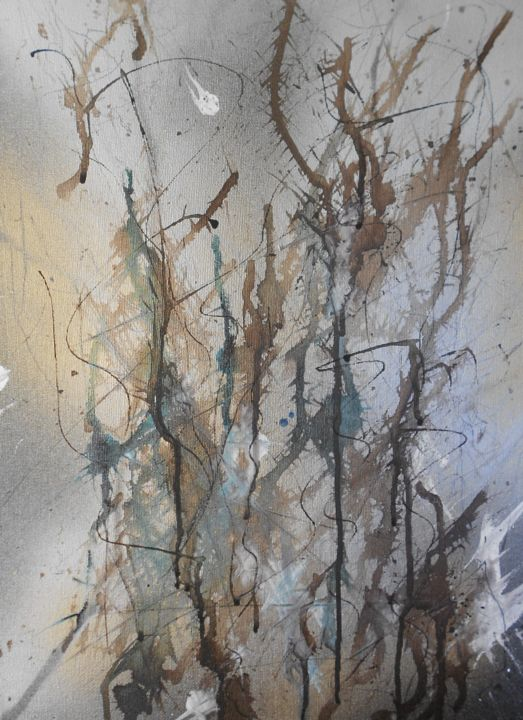 Forest (hiver) 2 - Painting,  45x30 cm ©2016 by Nick Cowling -