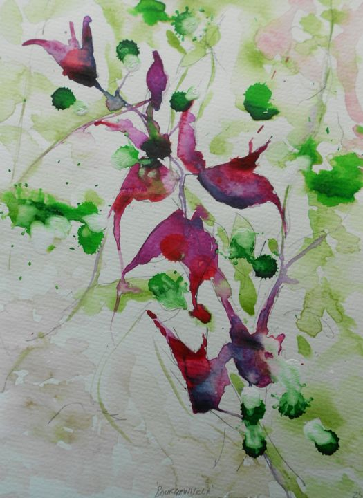 bourgainvillea-3 - Painting,  11.8x9.5 in, ©2016 by Nick Cowling -