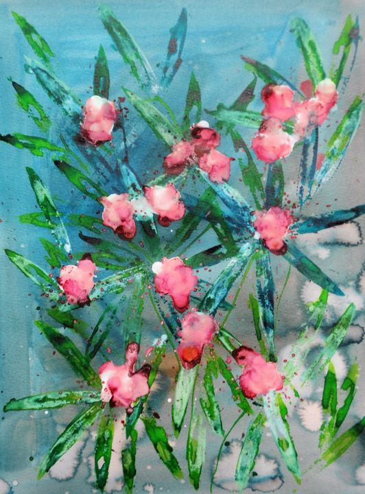oleander-2 - Painting,  18.9x14.2 in, ©2016 by Nick Cowling -