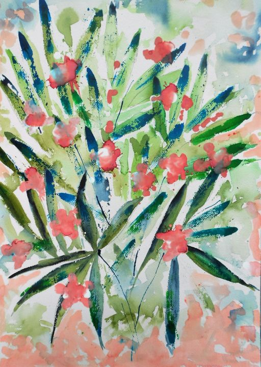 oleander-1 - Painting,  50x36 cm ©2016 by Nick Cowling -
