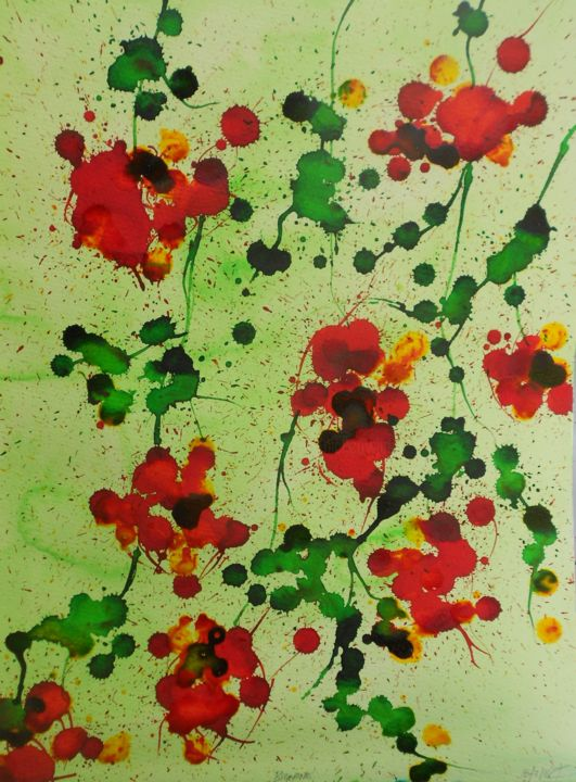 campsis-1 - Painting,  50x35 cm ©2016 by Nick Cowling -