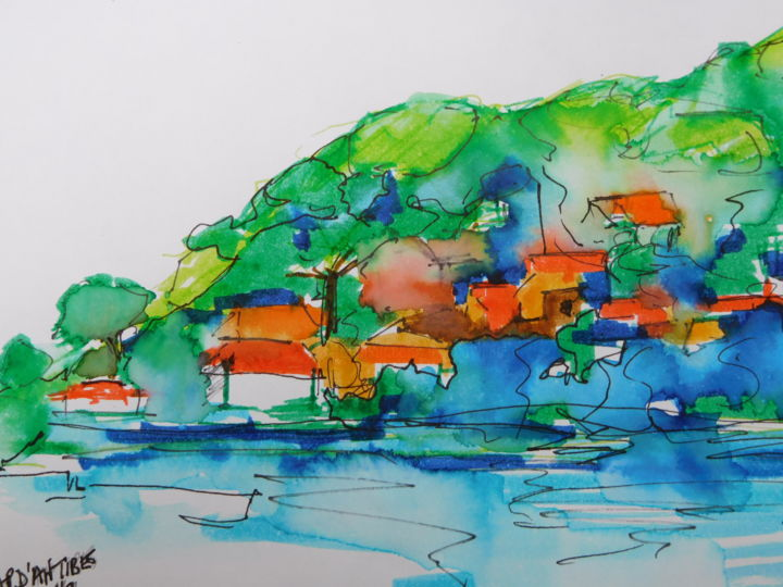 Cap-d'antibes-2 - Painting,  14x21 cm ©2016 by Nick Cowling -