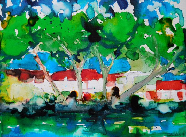 Plage à Bandol, Var - Painting,  9.5x12.6 in, ©2016 by Nick Cowling -