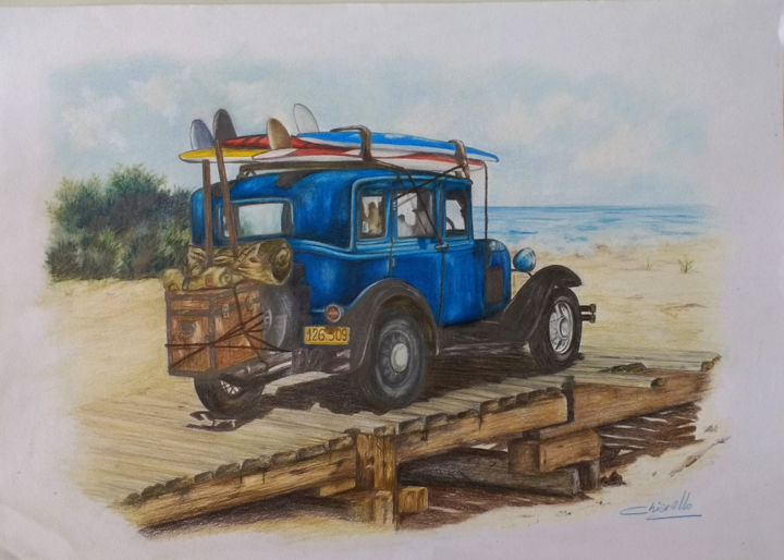FORD A at the beach - Drawing,  13.8x19.7 in, ©2020 by Nicky Chiarello -