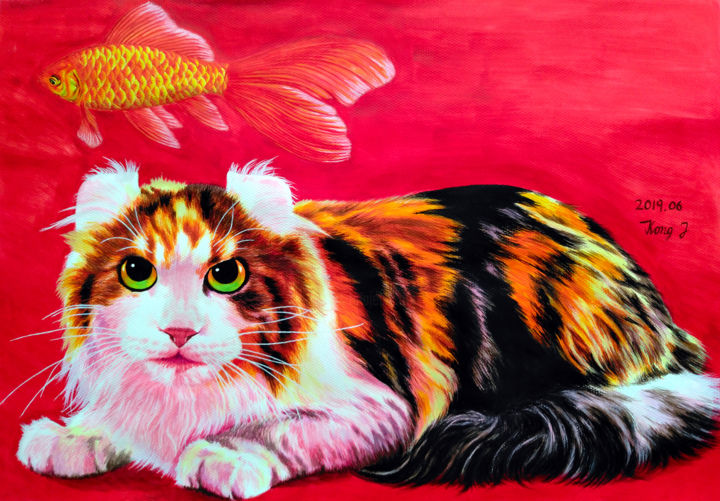 want fish - © 2019 pet, cat, fish, red, painting, gouache Online Artworks