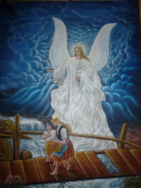 Guardian Angel And Children Painting By Nicolas Delcrois Artmajeur