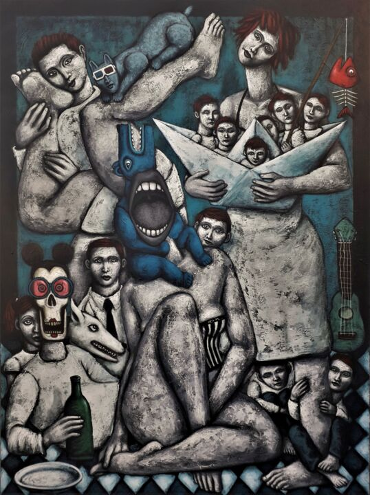 """Painting titled """"Les naufragés"""" by Nicolas Monjo, Original Art, Oil Mounted on Stretcher frame"""