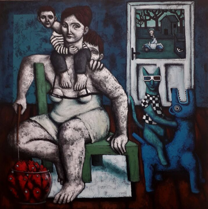 """Painting titled """"Porte close"""" by Nicolas Monjo, Original Art, Oil Mounted on Stretcher frame"""